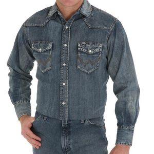 Men's Wrangler Western Denim Button Up Shirt